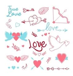 hand-lettered vintage st valentines card elements vector image