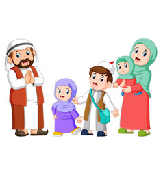 happy arab family couple with children vector image