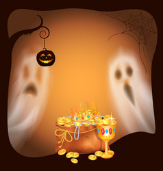 Happy halloween spooky ghosts and gold vector