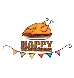Happy Thanksgiving Day banner sign with a cooked vector image vector image