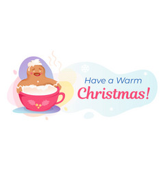 have warm christmas banner template vector image