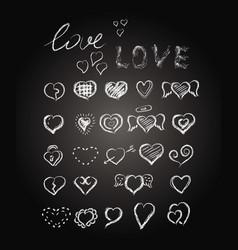 hearts lettering chalk doodle design elements vector image