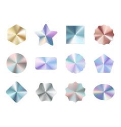 Holographic labels round gradient metal vector