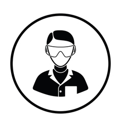 Icon of chemist in eyewear vector image