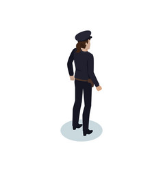 Isometric policewoman in overall and gun holster vector