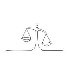 Judicial scales on white background continuous vector