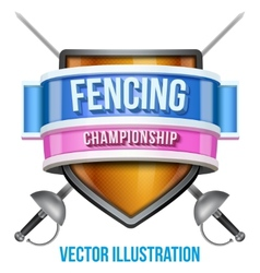 Label for fencing sport competition Bright premium vector image