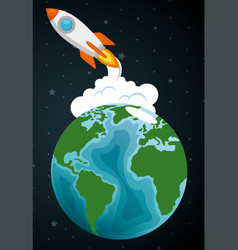 launcher rocket with earth planet vector image