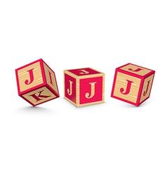 letter J wooden alphabet blocks vector image