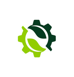letter n inside gear and leaf vector image