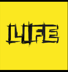 life text grunge yellow background vector image
