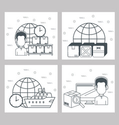 logistic services set icons vector image
