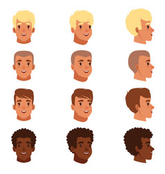 Men head avatars set with vector
