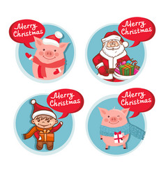 merry christmas flat icons set with funny pig vector image
