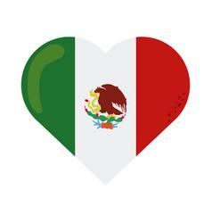 Mexican flag shaped heart emblem cinco de mayo vector