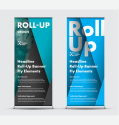 modern design roll-up banner with intersecting vector image
