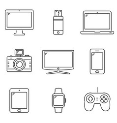 modern digital devices outline icons vector image