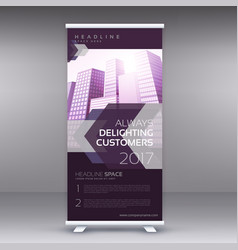 Modern purple standee roll up banner design vector