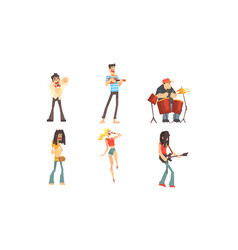musicians people characters collection musicians vector image