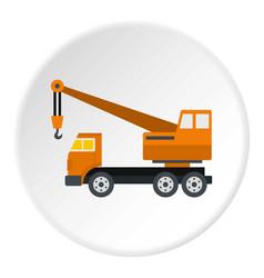 orange truck crane icon circle vector image