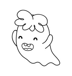 Outline happy ghost character with curly hair vector