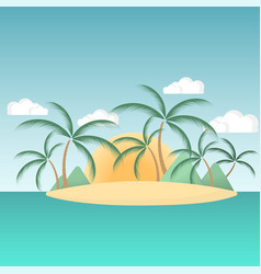 paradise island in the sea with palm trees and vector image