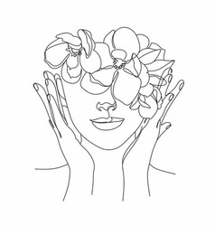 Peony woman line art portrait flower head woman vector