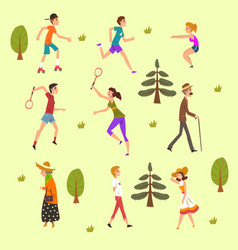 people walking and training in the park set vector image
