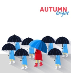 People with umbrella in a autumn raining day vector
