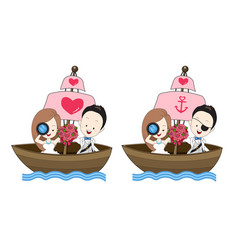 Pirate wedding cartoon with sea theme vector