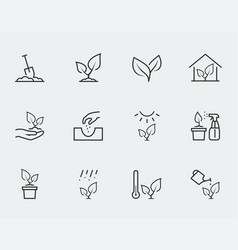 Plant related icon set in outline style vector