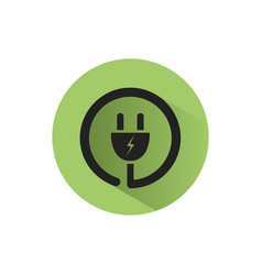 plug icon with shadow on a green circle vector image vector image