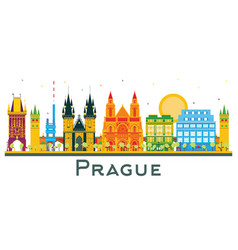 Prague czech republic city skyline with color vector