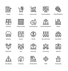 project management line icons set 6 vector image