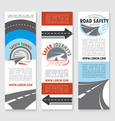 Road safety banner template set with highway icons vector