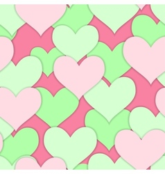 Seamless of green and pink hearts vector image