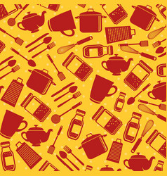 seamless pattern kitchen utensils vector image
