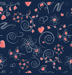 seamless pattern with pink hearts curls and vector image