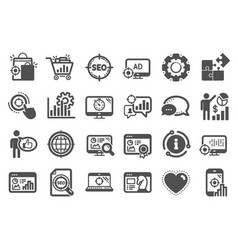 Seo icons set increase sales business vector