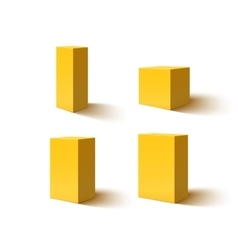 Set four yellow blank boxes vector