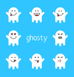 Set of white emoji ghost on blue background vector