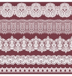 Set of white lace borders isolated on brown vector image