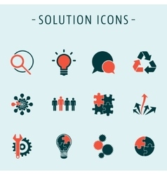Set solution icons vector image
