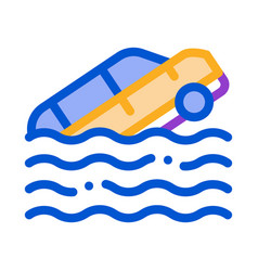 sinking car icon outline vector image
