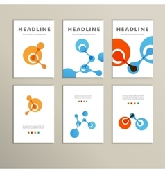 Six pattern with abstract figures brochures vector