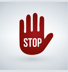 stop sign on red hand isolated on white background vector image
