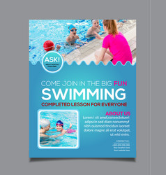 Swimming lessons flyer template design vector