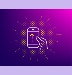Swipe up phone line icon scrolling arrow sign vector