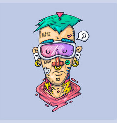 The face a rapper with tattoos creative vector