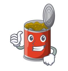 thumbs up metal food cans on a cartoon vector image